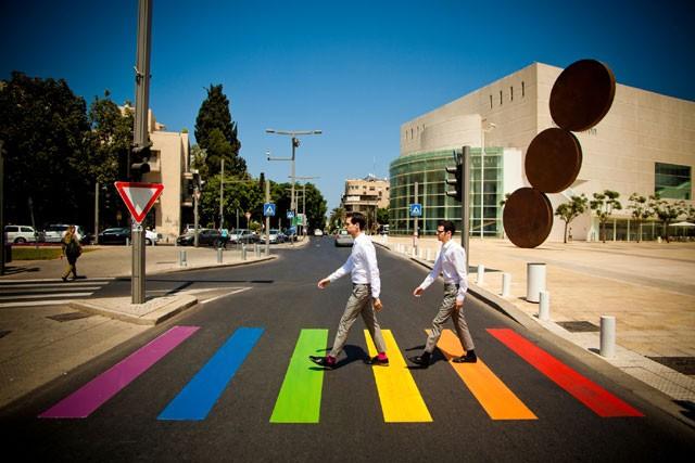 Zebra crossings painted in rainbow colors