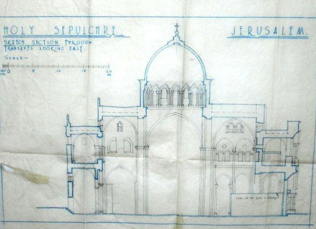 Original plan of the Holy Sepulcher Church prepared for renovating the site following the 1927 earthquake
