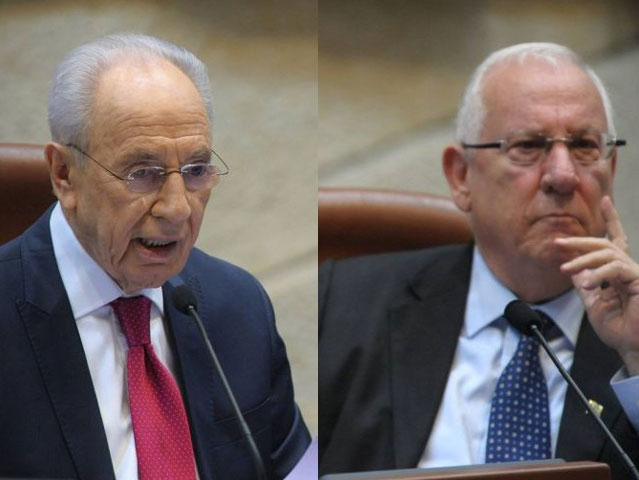 President Shimon Peres and his successor Reuven Rivlin in the Knesset, 2011