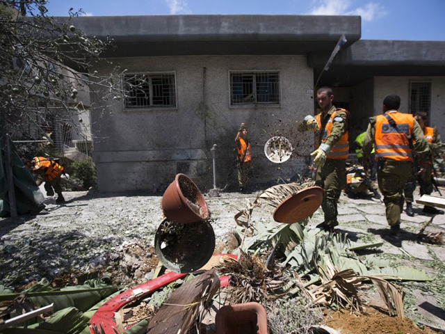 Ashdod home damaged by rocket fired from Gaza (July 15, 2014), while Israel observed ceasefire
