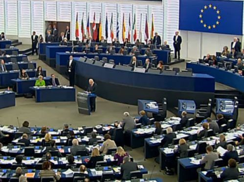 President Peres addresses the European Parliament