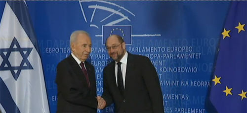 President Peres is welcomed by President of the European Parliament Martin Shultz