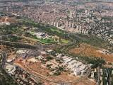 Aerial view of the Knesset, Israel's parliament, in the capital city of Jerusalem
