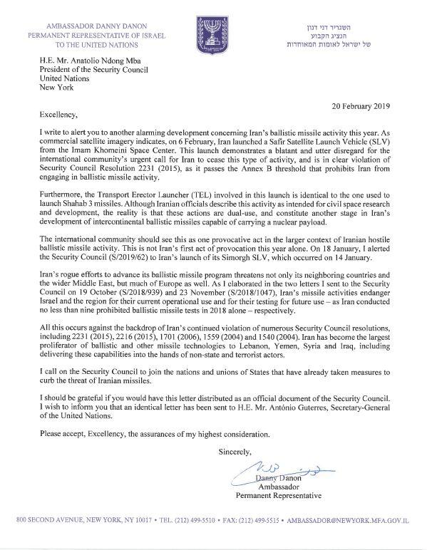 Letter Iran Ballistic Program