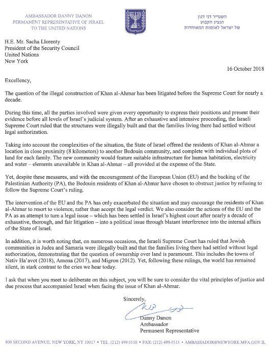 Letter Security Council 161018